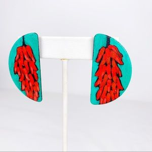 Hand Painted Wooden Earrings With Red Peppers